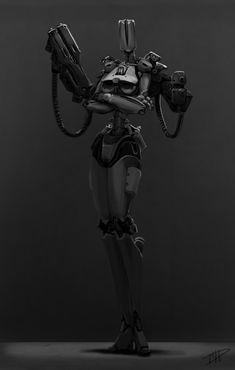 Guns With Heels Picture  (2d, sci-fi, girl, robot, guns)
