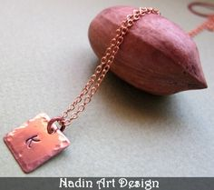 6f58224cc27a Items similar to Hand Stamped Square Tag Copper Necklace - Personalized  Initial Charm Pendant - Gift for him on Etsy