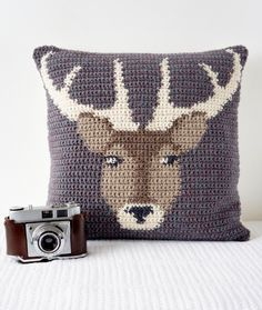 Crochet Pillow Cover Pattern Cushion PDF Stag Woodland Decor Countryside Wildlife Animals Deer Modern Decor by LittleDoolally on Etsy https://www.etsy.com/uk/listing/265380603/crochet-pillow-cover-pattern-cushion-pdf
