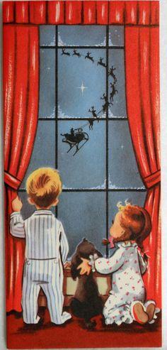 142 50s Watching Santa Through The Window w Dog Vtg Unused Christmas Card | eBay