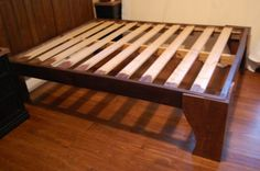 diy wood bed for rustic wood headboard, The Accent Piece on Remodelaholic