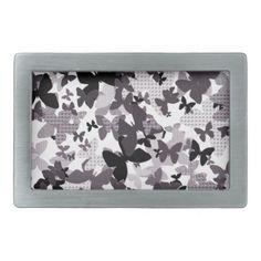 Monochrome Butterfly Design Dog Lea Belt Buckle  $34.60  by EJaggerStudios  - cyo customize personalize unique diy idea