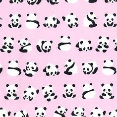 Panda print on pink background cotton fabric