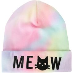 Meow Cat Rainbow Dye Watchman Beanie | Hot Topic (€31) ❤ liked on Polyvore featuring accessories, hats, beanies, beanie cap hat, beanie caps, rainbow beanie, embroidered hats and knit hat