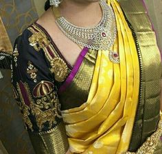 Shop for a variety of blouses in high neck, sleeveless, boat neck, sleeveless, embroidered & more online. South Indian Blouse Designs, Best Blouse Designs, Blouse Neck Designs, Blouse Patterns, Blouse Desings, Hand Embroidery Design Patterns, Elegant Saree, Traditional Fashion, Fancy Sarees