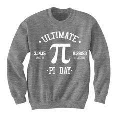Pi Day T-Shirt Shirts SWEATSHIRT Tshirt Jumper Ultimate Pi Day Geek... ($25) ❤ liked on Polyvore featuring tops, hoodies, sweatshirts, sweaters, shirts, unisex shirts, ultimate sweatshirt, unisex tops and shirt top