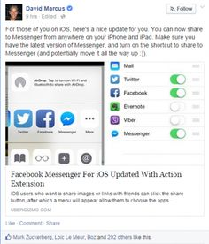 """""""Facebook Messenger users with iPhones or iPads can now share photos or links directly to the application following an update to the iOS app."""""""