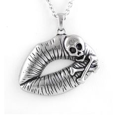 Add a little danger to your life with this stylish pendant. The stainless steel lips are adorned with a rad skull and crossbones design for that badass Bettie with the tonic-filled kiss that takes control of you.