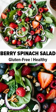 Berry spinach salad is the perfect spring and summer salad recipe. Fresh strawberries, raspberries and blueberries are tossed with baby spinach, goat cheese, red onions and pecans, then drizzled with a sweet and tangy raspberry vinaigrette. Spinach Salad Recipes, Summer Salad Recipes, Spinach Goat Cheese Salad, Salads With Goat Cheese, Vegan Recipes Summer, Salad Recipes Vegan, Raw Veggie Recipes, Simple Salad Recipes, Best Vegan Salads