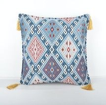 16x16'' Fabric kilim Style pillow blue pillow, turkish fabric kilim pillow - $13.00