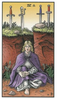 Four of Swords - Alchemical Renewed Tarot by Robert M. Place, Leisa ReFalo