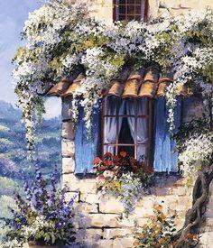 Reint Withaar: Window II Keilrahmen-Bild Leinwand Fenster Idylle Romantik