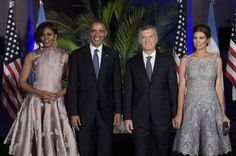 Argentina's President Mauricio Macri (2nd R), US President Barack Obama, US First Lady Michelle Obama (L) and Argentina's First Lady Juliana Awada (R) pose for a picture upon arrival for a dinner at the Kirchner Cultural Centre in Buenos Aires on March 23, 2016.