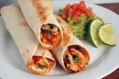 Baked Chicken & Roasted Red Pepper Taquitos! Healthier version than others I've seen!