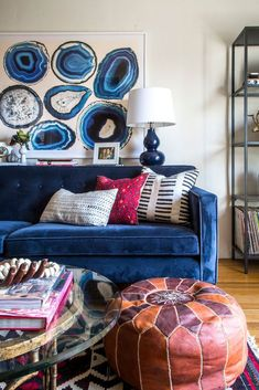 this blue couch makes the living room pop boho blue