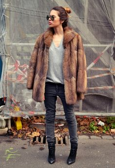 what-do-i-wear:  Fur: Vintage. Shirt: Zara Men. Pants: Cheap Monday. Shoes: Zara (image:majawyh)