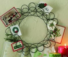 Amazon.com - Tag Holiday Metal Spiral Wreath Greeting Card Holder, 14.5-Inches Diameter - Christmas Wreaths; $18.48