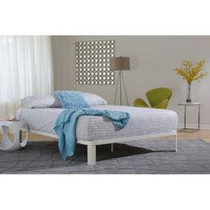 Stylish and comfortable, this lunar deluxe white platform bed will add convenience and elegance to any room. The classy lunar white finish is sophisticated and simple. The minimalist construction adds a chic elegance to this bed. White Platform Bed, Wood Platform Bed, Bedroom Furniture, Bedroom Decor, City Bedroom, Furniture Ideas, Mattress Springs, Bed Reviews, Bed Styling