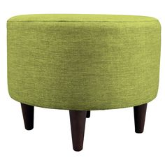 Grass Round Shape Small Ottoman Wood Fabric Contemporary & Traditional Espresso Finish Dining Bench Type Decorative 4 Round Wooden Legs Hardwood