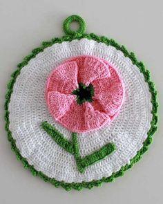 Vintage Pink Floral Potholder Crochet Patterns - Click Image to Close