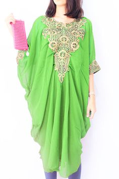 Moroccan Unique GREEN Chiffon Tunic Caftan Gold by aboyshop, $39.99