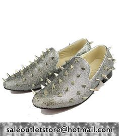 Christian Louboutin Spiked Flat Sneakers Grey for Men-Ladies,Christian  Louboutin On Sale,