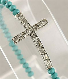 $22 Diamond Cross Stretch Bracelet - Silver & Turquoise ~ Shipping ONLY 5.00 on total order! Click image to shop!