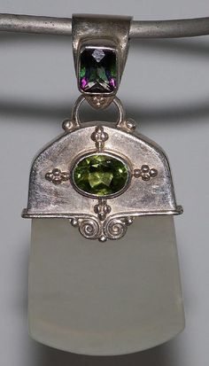 Sterling Silver Sajen Pendant with Mystic Topaz, Peridot and Agate