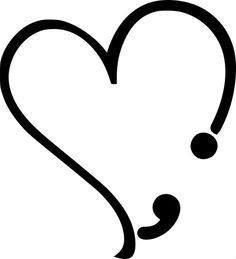 Semi Colon Heart Vinyl Decal, a symbol of personal strength when dealing with an internal struggle. A sticker you can stick to a car window,