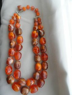 Vintage Estate Find Amber Egg Swirl Lucite Beaded Necklace