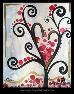 Funky Tree Painting - Jackie Schon, The Paint Bar but with the boys finger prints instead of just dots Canvas Crafts, Canvas Art, Canvas Ideas, Valentines Art, Valentine Tree, Cuadros Diy, Paint Bar, Wine And Canvas, Funky Art