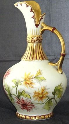 "Antique AK Limoges France Hand Painted Heavy Gold Detailing 9"" Ewer"