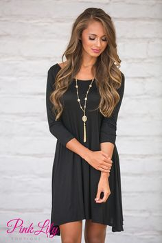 This versatile and sweet dress is simply the best addition to your fall wardrobe! Featuring a soft material in a classic shade of black paired with comfortable 3/4 sleeves, you're going to love rocking this casual look all season long!