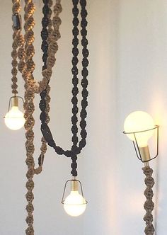 Macrame light cords by Robert Lewis Lamp Cord, Cord Cover, Diy Chandelier, Macrame Plant Hangers, Macrame Projects, Diy Arts And Crafts, Modern Boho, Cool Diy, Lamp Design