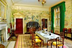 The dining room at Avebury Manor, Wiltshire, England. If you're a complete late 18th century mutter-butter, like me, oh boy, this is love. I mean the pedimented doors alone could kill me.