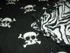 Skulls Blanket White on Black Fleece Blanket with a Zebra Backing Size 60in X 36in. Choose from Sewn or Tied on Etsy, $31.00 AUD