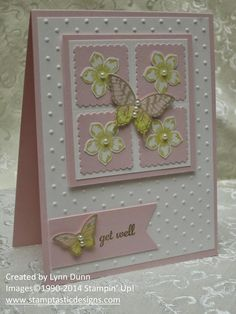Pretty Pink Papillon Potpourri  card base, white in dot folder, 3x3 color paper 2 3/4x 2 3/4 white colored squares then flower and butterfly