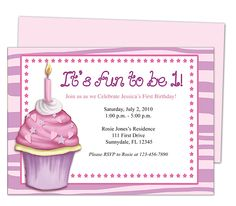 Baby's 1st Birthday : Cupcake 1st Birthday Invitation Templates. It's fun to be one first party invite easy to edit with Word, Publisher, Apple iWork Pages, OpenOfifce.