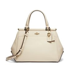 Coach just unveiled their collaboration with singer and actress, Selena Gomez. The new line features must-have accessories for Gomez fans and fas Crossbody Tote, Satchel Purse, Crossbody Shoulder Bag, Leather Satchel Handbags, Leather Purses, Selena Gomez Coach, White Shoulder Bags, Calf Leather, White Leather