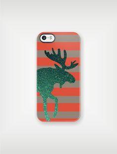 Moose Crossing iPhone Case or Samsung Galaxy Case - Emerald Green Glitter Moose - original design by a drop of golden sun