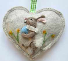 Easter Bunny Heart decoration, blue egg , needle felted rabbit among the daffodils, felt heart personalised with name.イースター