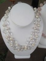Long crystal and pearl necklace : One of my staples