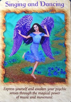 Today's Angel Card comes from Angel Therapy Cards Doreen Virtue. Today's card :Singing and Dancing Express yourself and awaken you. Doreen Virtue, Calling All Angels, Intuition, Angels Touch, Angel Guidance, Spiritual Guidance, Animal Spirit Guides, Oracle Tarot, Angel Cards