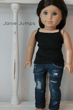 Love these destroyed jeans made from the Liberty Jane Jeans pattern! www.pixiefaire.com Items made by JanieJumps