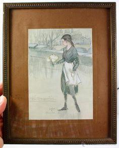 LOLA ANGLADA, parís 1924. Dibujo a lápiz y cera, la bouquetierie. 12,5x17,5 cm. marco: 22x28cm. - Foto 1