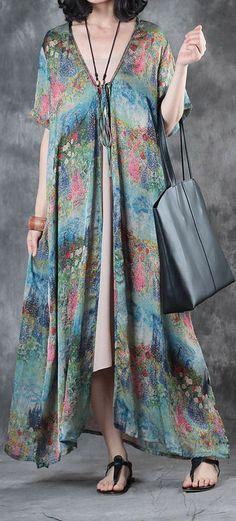 original blue print silk dresses plus size women sundress short sleeve cardigans maxi dress