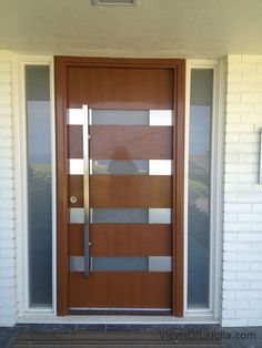 Modern Front Door, Wood Front Doors, Wooden Doors, Wooden Door Design, Main Door Design, Wood Glass Door, Balustrades, Contemporary Doors, House Doors