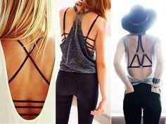 Os sutiãs com tiras podem apresentar detalhes nos seios, nas alças dos ombros ou nas costas e são perfeitos para serem usados com transparências, camisas com decotes, camisetas com aberturas laterais ou nas costas.