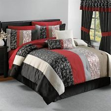 QUEEN Black White Red Gray ASIAN INSPIRED FLORAL TEXTURED Comforter Bedding SET