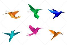 Origami Hummingbirds  #GraphicRiver         Colorful hummingbirds in origami paper